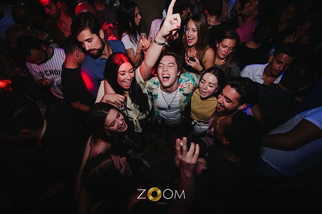 Group of LGBTQ friends celebrating at Zoom Porto, Portugal