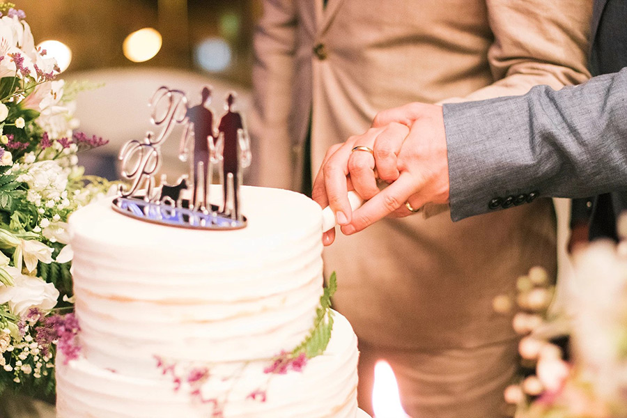 Detail of two men holding hands in their wedding while cutting the wedding cake, Portugal