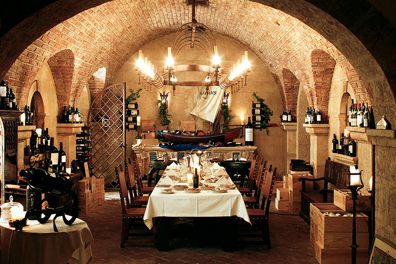 Wine cellar with bottles of Porto wine