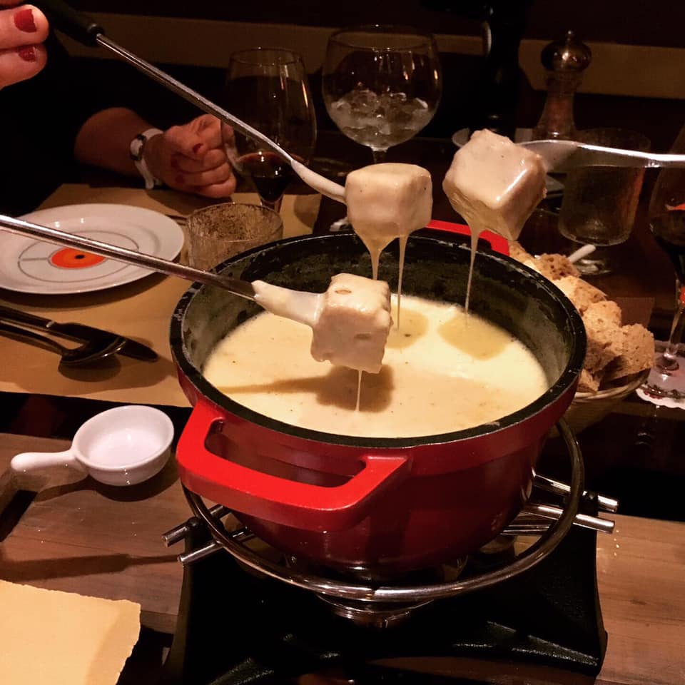 Swiss cheese fondue at Edelweiss Bistro, Lisbon, Portugal