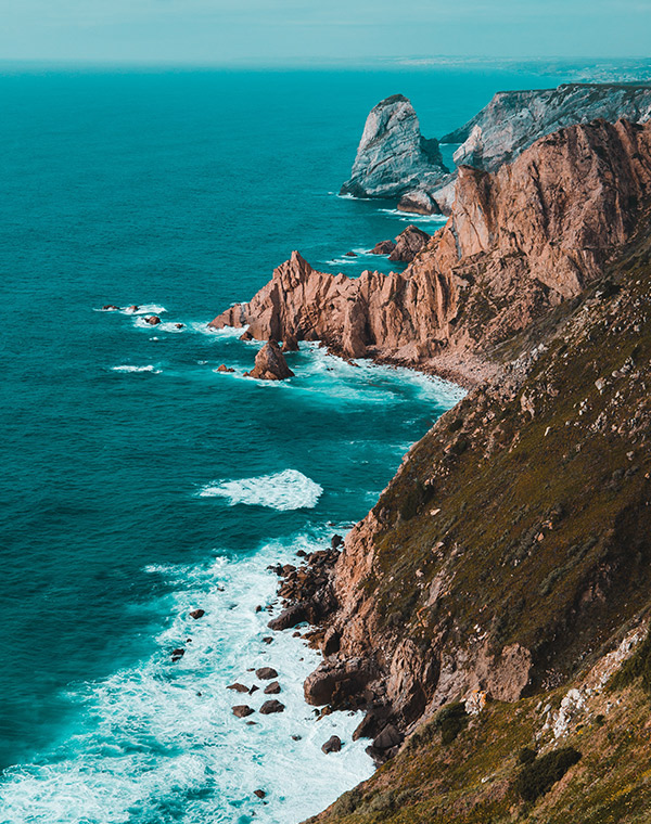 Beautiful rocky landscape by the sea in Portugal